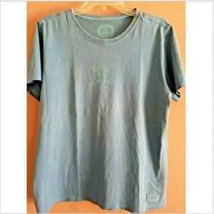 Life is Good T Shirt Women's M Gray-Blue flaws